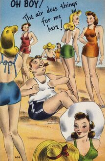 AMERICAN POSTCARD, c1950. 'Oh boy! The air does things for me here!'