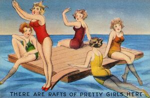AMERICAN POSTCARD, c1950. 'There are rafts of pretty girls here.'