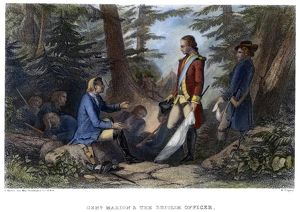 American revolutionary soldier. Francis Marion inviting a British officer to dine
