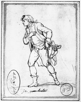 American revolutionary soldier. Sketch by Augustin DuprÃ