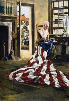 American seamstress and patriot. Betsy Ross making the first American flag