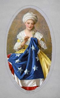 American seamstress and patriot. Betsy Ross sewing the first American flag