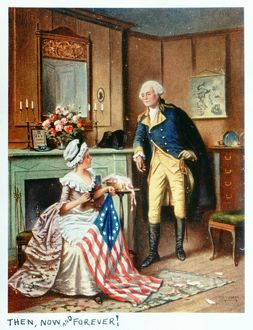 American seamstress and patriot. 'Then, now, and forever!' Betsy Ross sewing