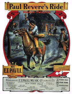 American sheet music cover, 1905, for 'Paul Revere's Ride,' a march two-step