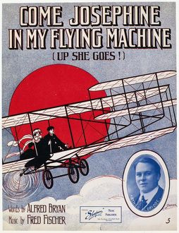 American sheet music cover for 'Come Josephine in My Flying Machine,' with