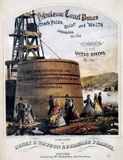 American songsheet cover of Petroleum Court Dance, 1865, depicting an oil well.