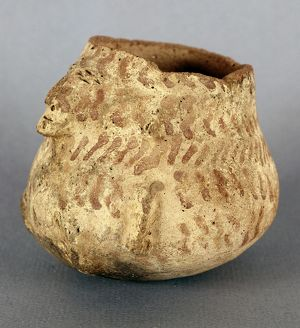 ANASAZI BOWL. Two-faced clay bowl of the Anasazi culture from Casas Grandes, southern Arizona