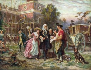 ANDREW HAMILTON (c1676-1741). American (Scottish-born) lawyer. 'Building the Cradle of Liberty