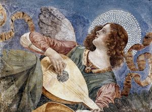 ANGEL WITH A LUTE. Fragment of a fresco, c1481, by Melozzo da Forli.