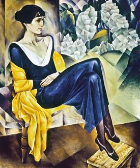 ANNA AKHMATOVA (1889-1967). Russian poet. Oil on canvas, 1914, by N.I. Altman.