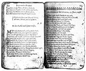 ANNE BRADSTREET POEMS. Two pages of Bradstreet's 'Poems,' Boston, 1678.