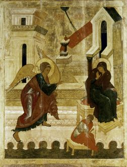 THE ANNUNCIATION. Icon. Moscow School, Russia, 16th century.