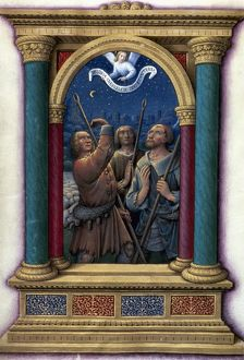 ANNUNCIATION TO SHEPHERDS. Illumination from a French Book of Hours, c1510.
