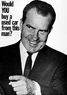 ANTI-NIXON POSTER, 1960. 'Would YOU buy a used car from this man?' American poster