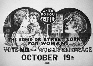 american history/anti suffrage poster 1915 which prefer home