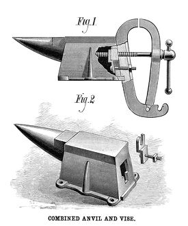 ANVIL AND VISE, 1881. A combination anvil and vise, patented by A.L. Adams of Cedar Rapids