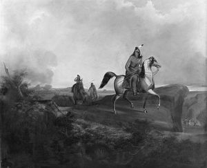 APACHE WARRIOR, 1846. Black Knife, an Apache warrior, riding on horseback in the
