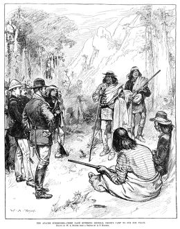 APACHE WARS, 1883. The Apache Chief Nana surrendering to General George Crook