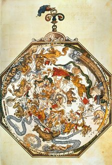 APIAN'S ZODIAC, 1540. Color woodcut from Peter Apian's 'Astronomicon Caesareum