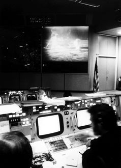 Interior view of the Mission Operations Control Room in the Mission Control Center at Houston