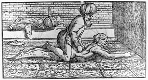 Arabic physician and philosopher. Avicenna massaging a patient