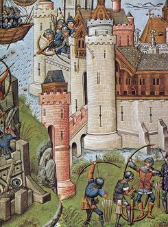 ARCHERS, 15th CENTURY. Archers defending a castle under siege
