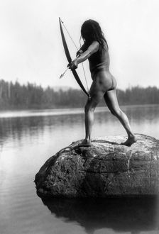 ARCHERY: NOOTKA INDIAN. /nA nude Nootka Indian bowman taking aim into the water