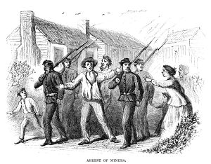 ARREST OF MINERS, 1867. Insubordinate miners arrested by the police near Pottsville