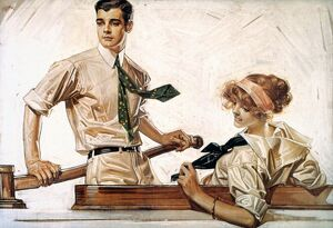 ARROW SHIRT COLLAR AD. American advertisement by J.C. Leyendecker for Arrow Collars