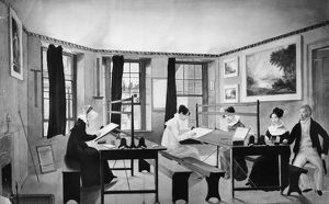 ART CLASS, c1810. Students in a drawing class at the studio of John Rubens Smith
