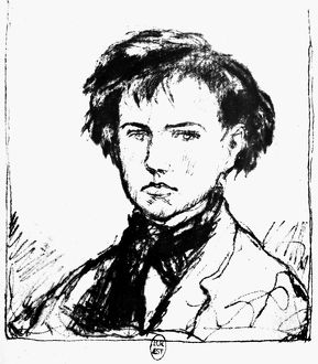 ARTHUR RIMBAUD (1854-1891). French poet. Drawing, 19th century, by Coussins.