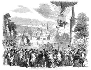 Ascent of the Nassau hot air balloon from Vauxhall Gardens in London, England, 1840