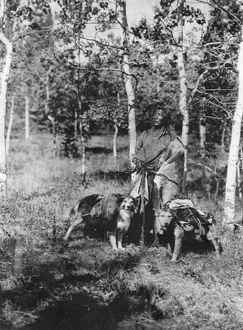 ASSINIBOIN HUNTER, 1926. A hunter of the Assiniboin people with pack-laden dogs