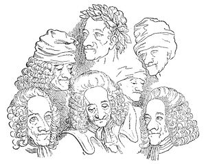 Assumed name of Francois Marie Arouet. French writer. Voltaire in different portraits