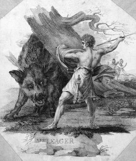 ATALANTA AND MELEAGER. Meleager hunting the Calydonian boar. Aquatint, c1800