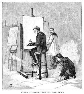 ATELIER, 1884. An art student lighting a fire under the chair of a new fellow student