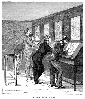 ATELIER, 1884. Art students drawing copies of other works of art in a European atelier