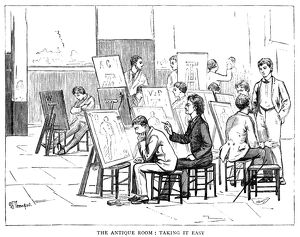 ATELIER, 1884. Bored art students falling asleep in a class focused on drawing ancient