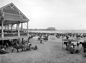 ATLANTIC CITY: BEACH, c1900. A view of the beach from the boardwalk with Richards