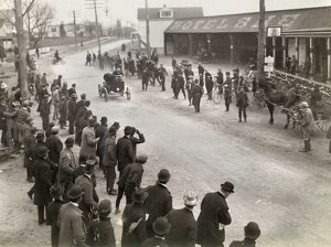 AUTO RACE, c1900. Spectators watching at the finish line of an auto race in Springfield