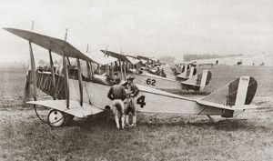 Aviators at an American airfield during World War I. Photograph, c1917.