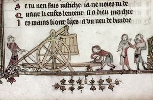 BALLISTA, 14th CENTURY. Military engineers with a ballista