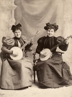 BANJO PLAYERS, c1900. Original cabinet photograph, American, c1900.
