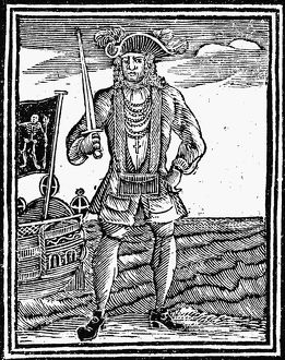 BARTHOLOMEW ROBERTS, 1725. Welsh pirate. English woodcut, 1725