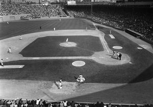 BASEBALL GAME, 1967. Game between the Boston Red Sox (in the field) and the Minnesota