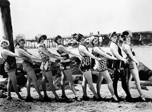 BATHING BEAUTIES, 1916. Silent film, produced by Mack Sennett (1884-1960), American film producer
