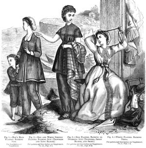 BATHING SUITS, 1870. American bathing dresses. Wood engraving, 1870.