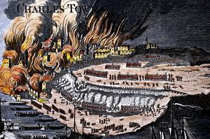 Battle of Bunker Hill, 1775. Detail of colored English engraving, c1785.