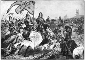 BATTLE OF CRECY, 1346. 'Charge of the French chivalry on the English bowmen