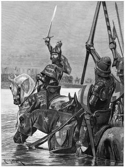 BATTLE OF CRECY, 1346. 'Edward III. Crossing the Somme in the face of the French army
